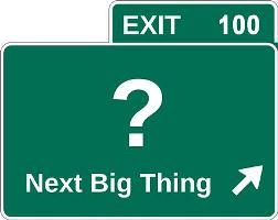 "What should I study - image of a sign containing a question mark and the words ""Next Big Thing"""