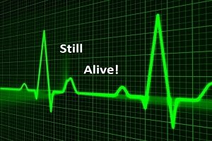 An image of a heart monitor with the words still alive typed over it