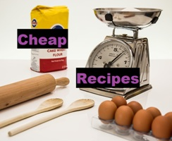 Cheap recipes: Image of a scale, eggs, flour and baking utensils