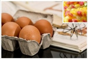 Cheap recipes: Image of eggs and a recipe book with 'eggy delight' in the corner