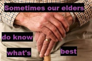 elders do know what's best image : image of an old mans hands holding a cane